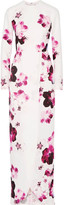 Elie Saab Wrap-effect Floral-print Crepe Gown - White