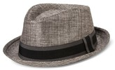 Bioworld Men's Fedora With Black And Gray Band - Gray