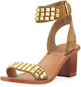 Ash Pearl Suede Studded Sandal, Brown/Multi