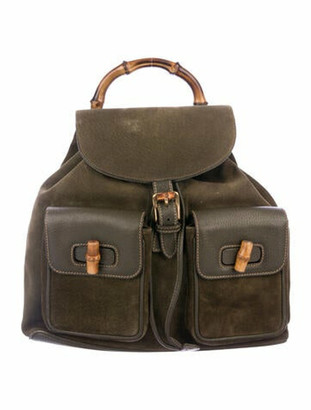 Gucci Vintage Suede Bamboo Backpack Olive