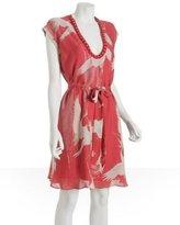 YAYA AFLALO coral bird chiffon 'Orsay' necklace dress