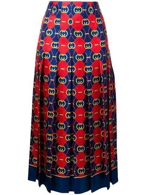 Gucci High Waisted Twill Midi Skirt