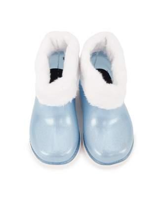 Mini Melissa Faux Fur Trim Sparkly Wellies Colour: BLUE, Size: UK 4