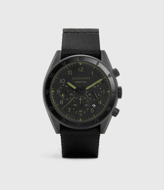 AllSaints Subtitled II Black Stainless Steel and Black Nylon Watch