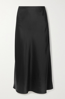 Rosetta Getty Satin Midi Skirt - Black