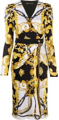 Versace Barocco print wrap dress