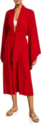 Norma Kamali Mid-Calf Belted Kimono Robe