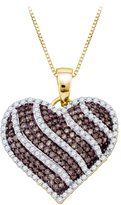 KATARINA Cognac and Diamond Heart Pendant with Chain in 10K White Gold (1 cttw)