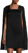 Kay Unger New York Pleated-Cape Cocktail Dress, Black