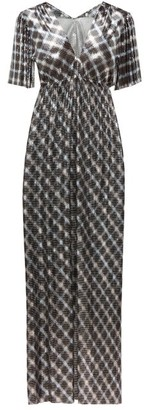Paco Rabanne Checked Chainmail Maxi Dress - Womens - Blue Silver