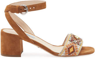 Prada 55mm Embroidered Jewel Block-Heel Sandals