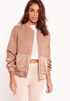 Missguided Petite Satin Two Tone Bomber Jacket Camel