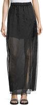 Brunello Cucinelli Silk Sheer Chiffon Maxi Skirt, Black