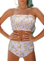 Actloe Women Ruched Color Block Tankini Swimwear with Skirted Swim Bottom Two Pieces Swimsuit