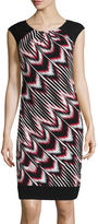London Times London Style Collection Short-Sleeve Diagonal-Print Shift Dress