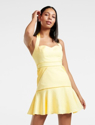 Forever New Ariana Halterneck Mini Dress - Lotus Yellow - 4