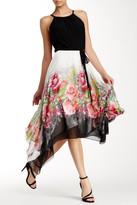 SL Fashions Halter Neck Colorblock Floral Dress