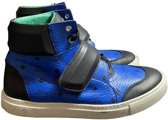 MCM Blue Leather Trainers
