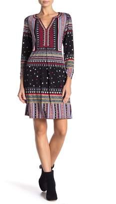 Hale Bob Patterned Split Neck 3/4 Sleeve Dress