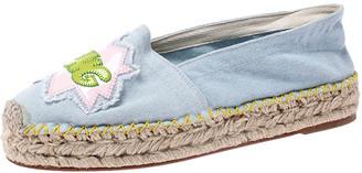 Chiara Ferragni Blue Canvas Pow Bang Espadrilles Loafers Size 41