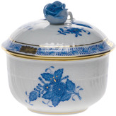 Herend Chinese Bouquet Blue Covered Sugar Bowl with Rose