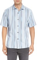 Tommy Bahama Men's Big & Tall 'Rumway Stripe' Silk & Cotton Camp Shirt