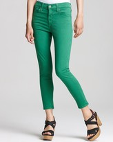"AG Adriano Goldschmied Farrah"" Skinny Crop Jeans in Kelly Green"