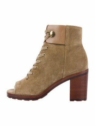 Frye Danica Lug Combat Suede Lace-Up Boots Brown
