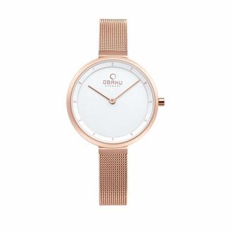 Obaku Denmark - Blomme Rose Gold Stainless Steel Womens Analog Quartz Watch 3 ATM (V225LXVIMV)