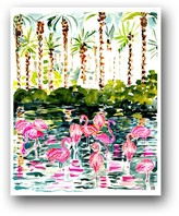 The Well Appointed House Flamingo Flock Colorful Art Print
