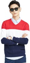 Meters/bonwe Men's V Neck Long Sleeve Color Block Pullover Sweater, XL