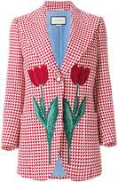 Gucci tulip triangle check blazer - women - Silk/Polyamide/Acetate/Wool - 38