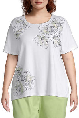 Alfred Dunner Cayman Islands Asymmetric Floral Embroidery Top - Plus
