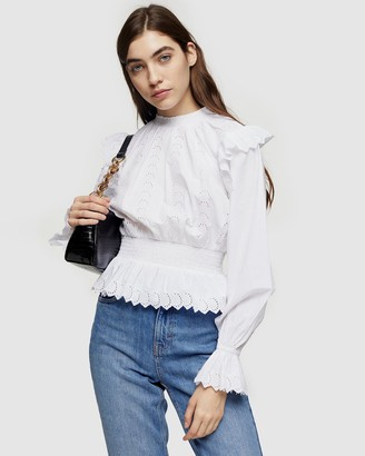 Topshop Shirred Embroidered Blouse