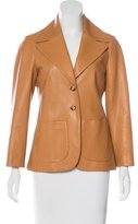 The Row Leather Notch-Lapel Blazer