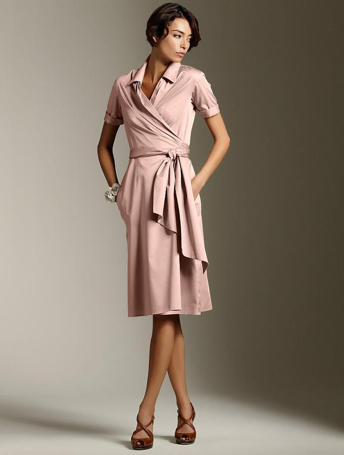 Talbots Faux-wrap sash dress