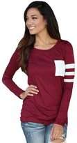 Lowpricenice(TM) Womens Fashion Autumn Long Sleeve Round Neck Splice Shirt Blouse Cotton Blend Tops Pure T Shirt