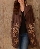 Paparazzi Brown Embroidered Hooded Cardigan