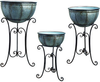 Transpac Set Of 3 Metal Silver Spring Rustic Round Standing Containers