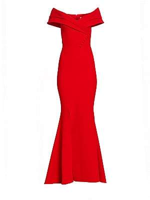 Safiyaa Women's Madison Heavy Crepe Off-The-Shoulder Gown