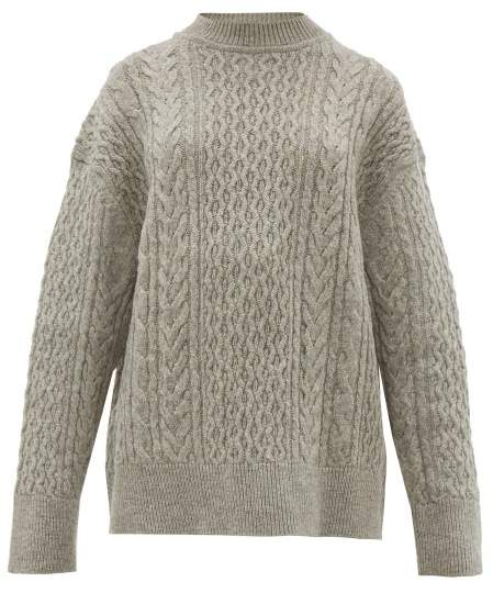 Jil Sander Shetland Wool Cable Knit Sweater - Womens - Light Grey