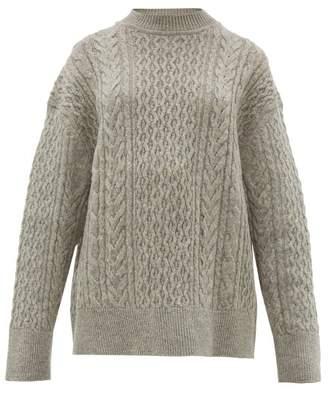 Jil Sander Shetland Wool Cable-knit Sweater - Womens - Light Grey