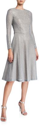 St. John A-Line Bracelet-Sleeve Bejeweled Silver Netting Dress