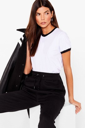 Nasty Gal Womens Ringers a Bell Contrasting Tee - White