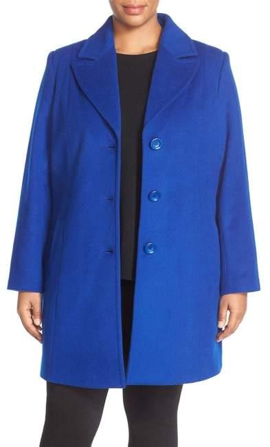 Notch Collar Wool Blend Coat (Plus Size)