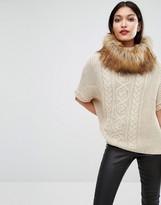 Lipsy Michelle Keegan Faux Fur Roll Neck Sweater