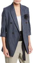Brunello Cucinelli Linen-Blend Pinstripe Double-Breasted Blazer