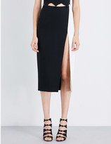 David Koma Split-detail stretch-crepe midi skirt