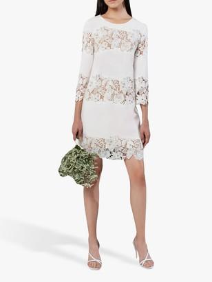 French Connection Frenyala Lace Panel Mini Dress, Summer White