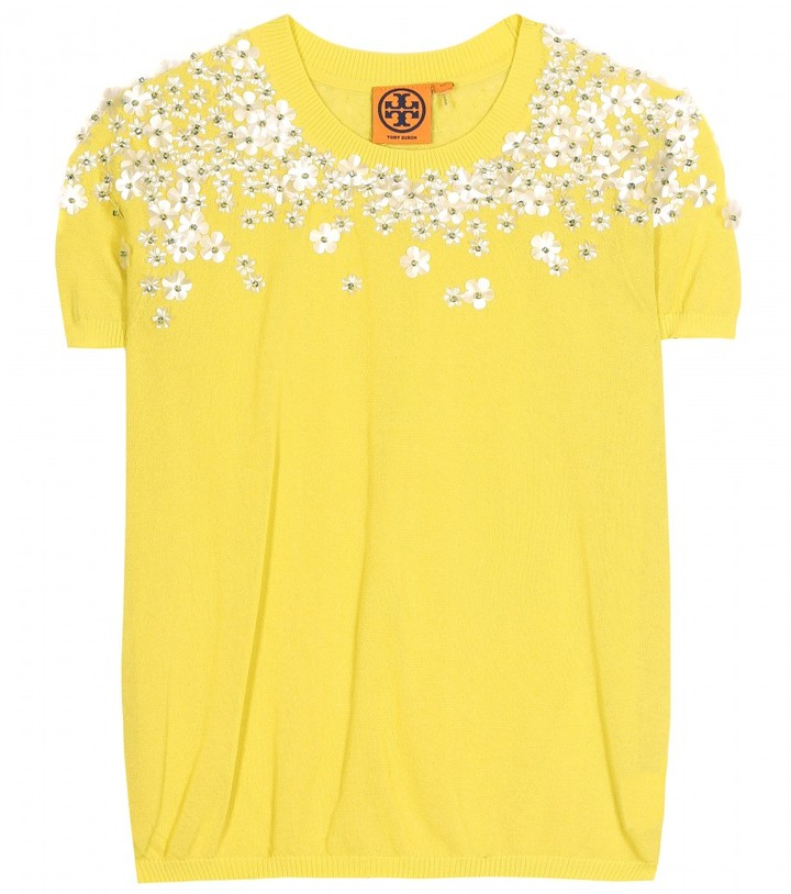 Tory Burch MARYGRACE EMBELLISHED KNIT TOP